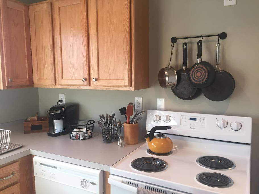 Fully stocked kitchen with full sized appliances including dishwasher and microwave. Just shop for your food &  enjoy all the amenities of home.
