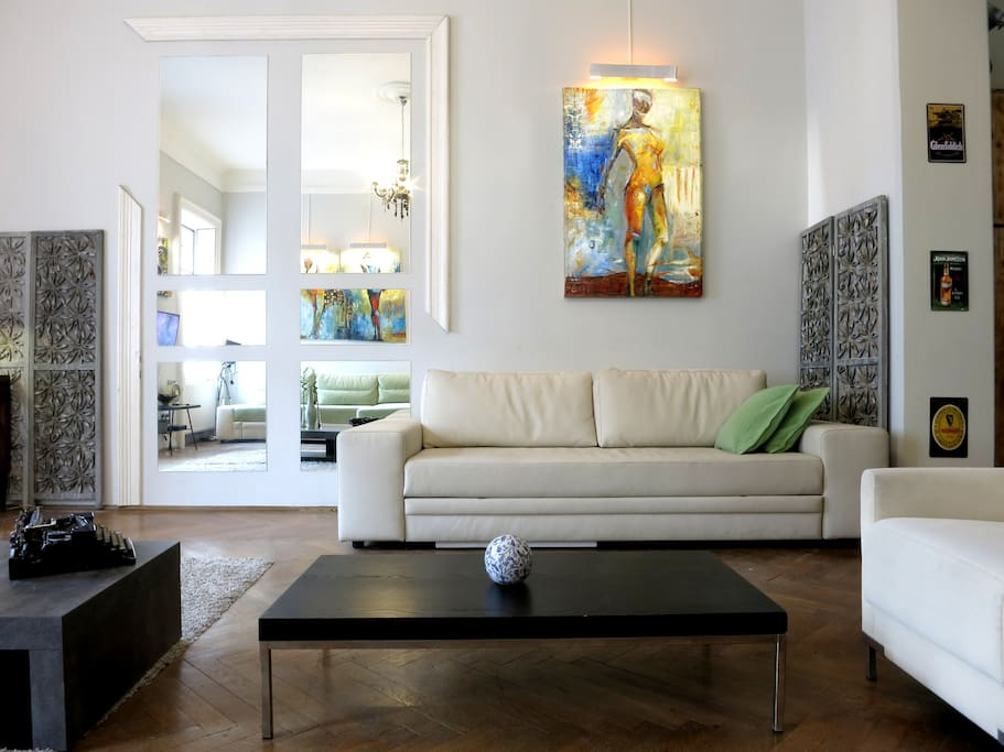Budapest Loft Story- Huge 53 sqm  living room, with two large sofas-beds . Until nine adults!