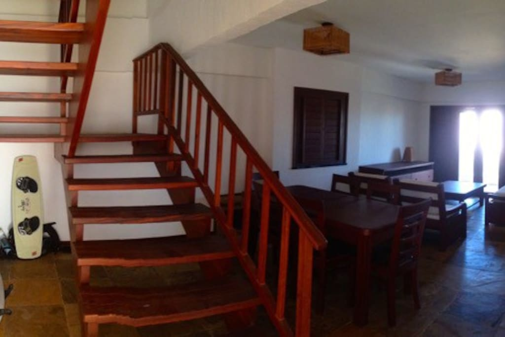 first level, large living and dining are, stairs leading to bedrooms upstairs