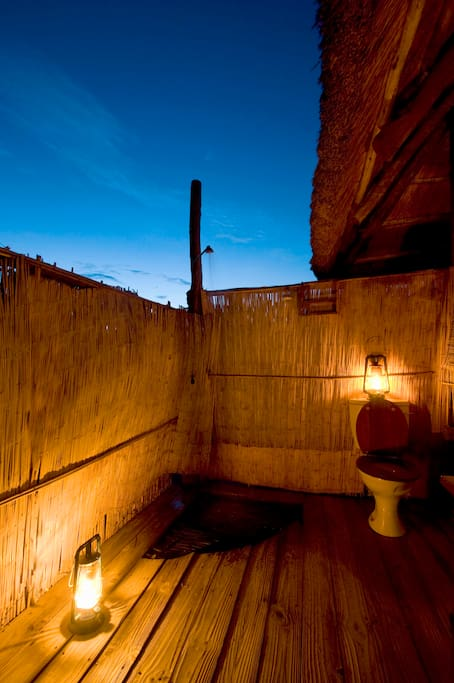 Open air shower which allows you to gaze at the canopy of stars.....