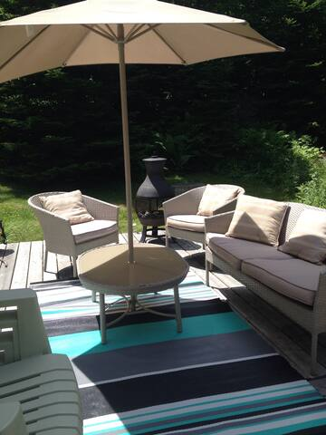 Lots of outdoor furniture to enjoy outdoor living