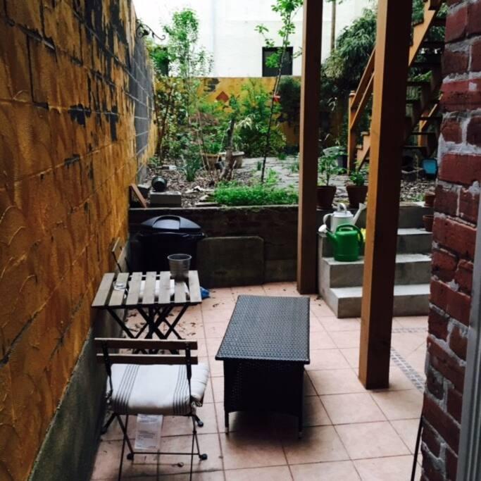 Quiet patio in the backyard