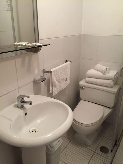 cuenta con baño privado y ducha con agua caliente las 24 horas.