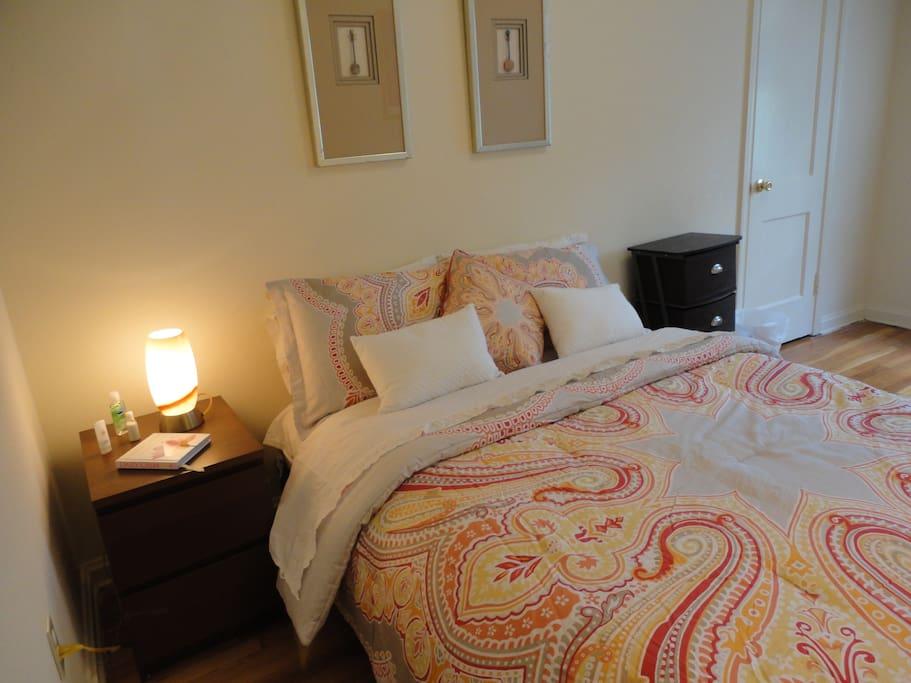 1. Bedroom with Queen size bed.