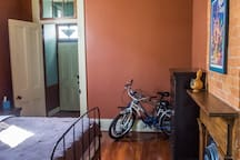 Bedroom - Queen Sized bed and dresser - Two Bikes available for use.