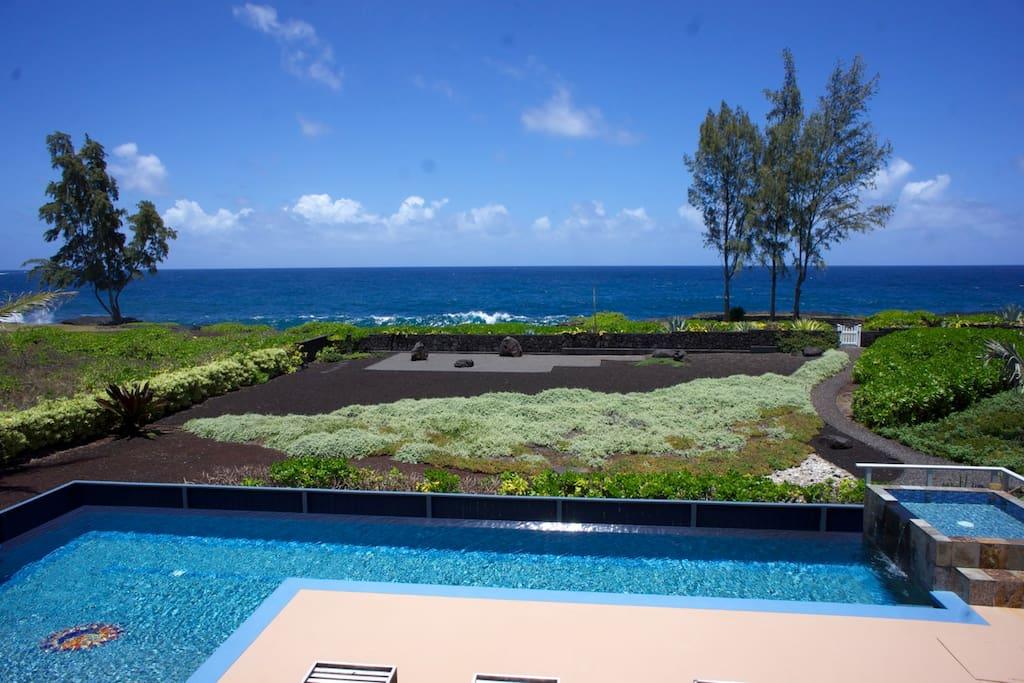 View of pool, Zen Garden, & ocean from 1st floor apartment
