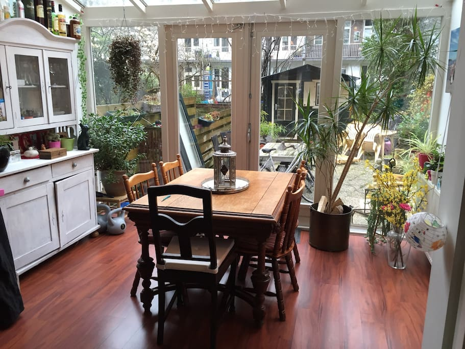 The sun room with dining table