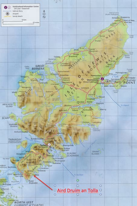 Aird Druim an Tolla is located on the east coast of Harris