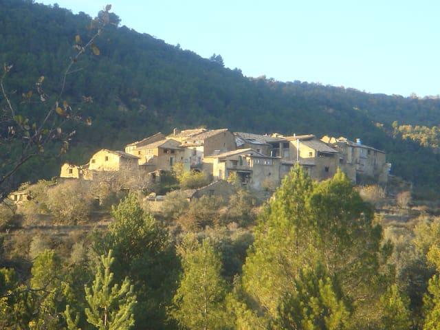 ecoaldea cerca a los Pirineos
