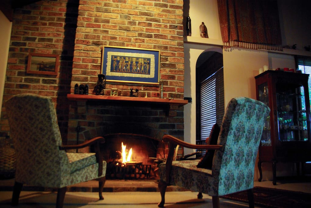 Living room with open fire for the winter months