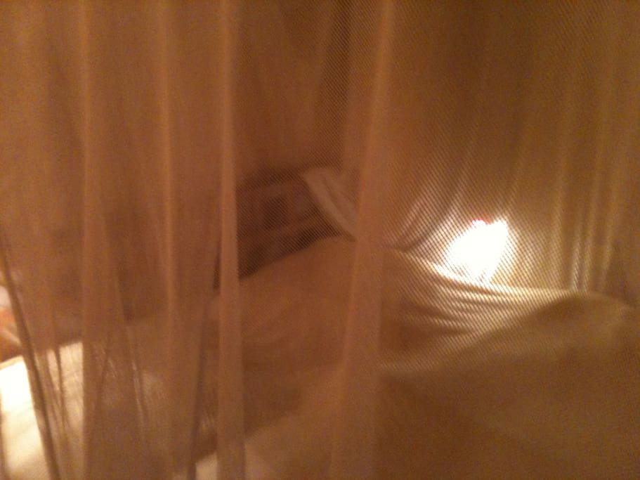 the bed in the yello room without mosquitos
