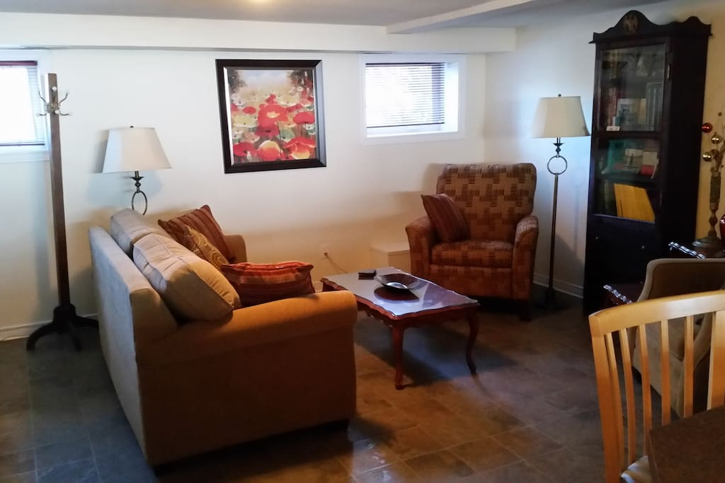 Cozy guest sitting area with pull out couch.