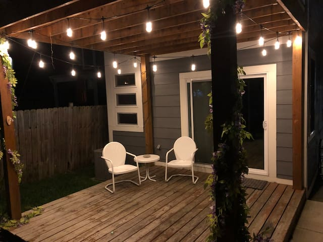 1st floor back patio. fenced in yard.