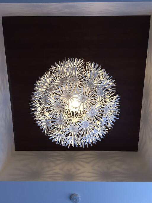 Cool light in the bed room.