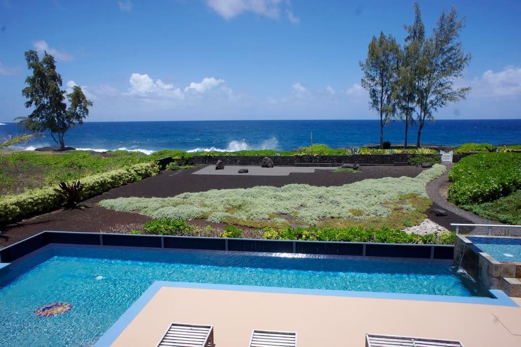 View of pool, Zen Garden, & ocean from apartments