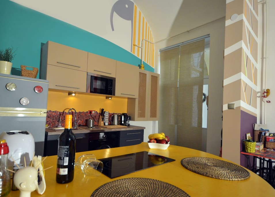 kitchen and the dining area ( basic ingredients,electric hot plate)