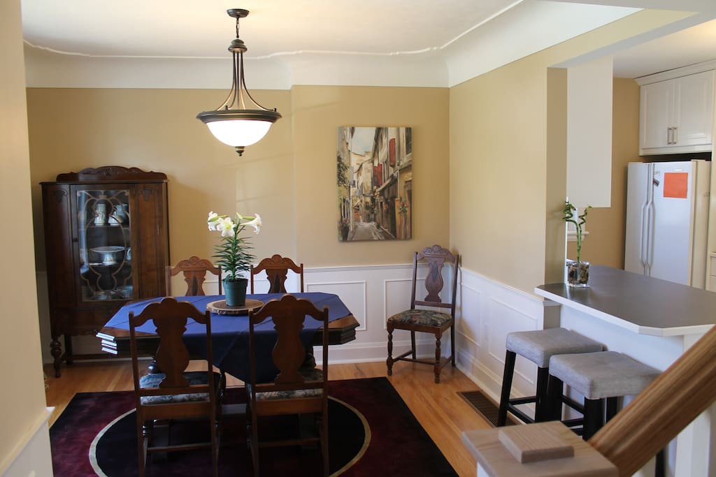 The kitchen opens to the dining room.  The dining table seats six.