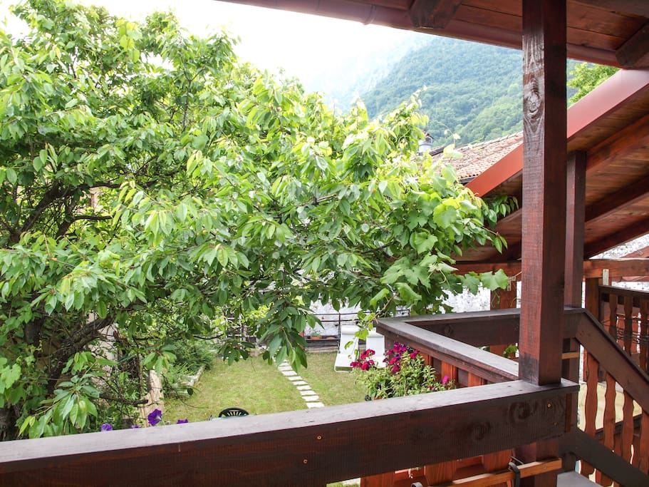 The view of the garden from the upper terrace.