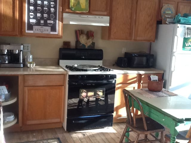 kitchen with microwave, toaster, hot-plate and refrigerator.