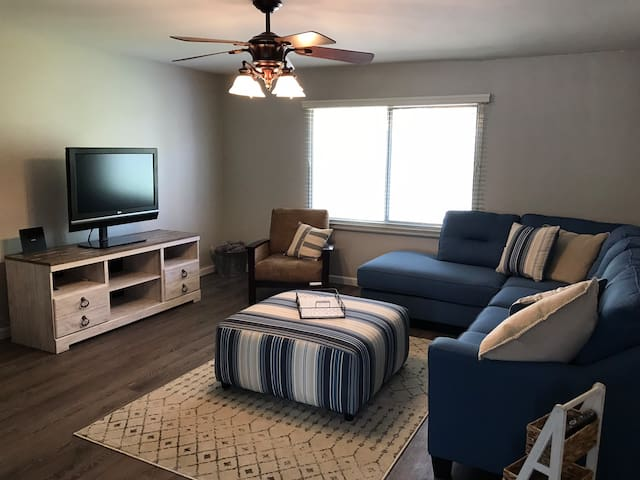 Large living room with sofa bed