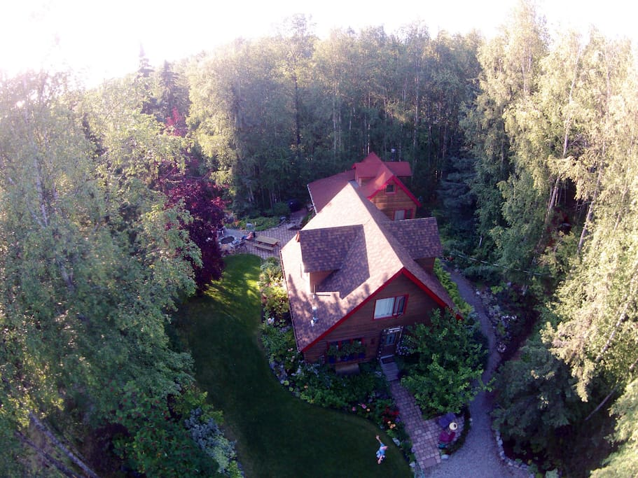 Bird's eye view of both cottages