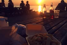 Fish and chips on Whitstable beach at sunset (Whitstable is a half hour drive from my house)