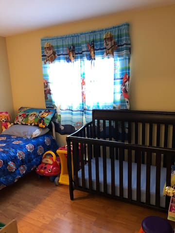 Bedroom 3.  Crib and single bed.  Has a Paw Patrol theme so a coin toss may have to determine the lucky winner of this room.  A lot of toys for children.
