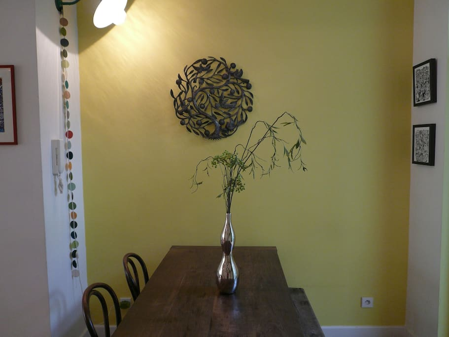Long friendly dining table