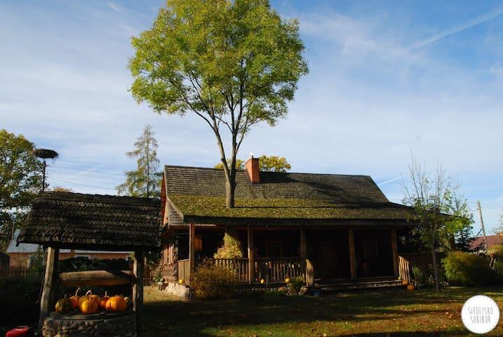Dom z tarasem - odnowiona chata z bali - Sobibór - Hut