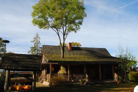 Dom z tarasem - odnowiona chata z bali - Sobibór - 小屋