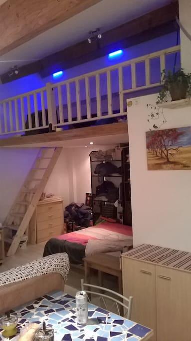 Appartement lumineux et mezzanine ouverte sur le salon.