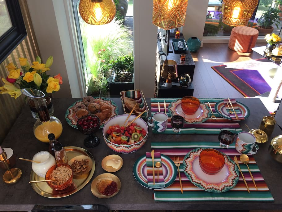 example of inclusive breakfast. table setting is made up of Missoni Home and Tom Dixon table wear. The food is freshly prepared each morning. breakfast is served at an agreed time the night before.