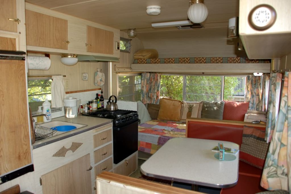 17' of interior space: compact, cozy and practical.  Perfect for one; do-able for two on a short visit.