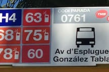 Buses to the Center 63-68 or H4+L6 at Pl Reina Elisenda