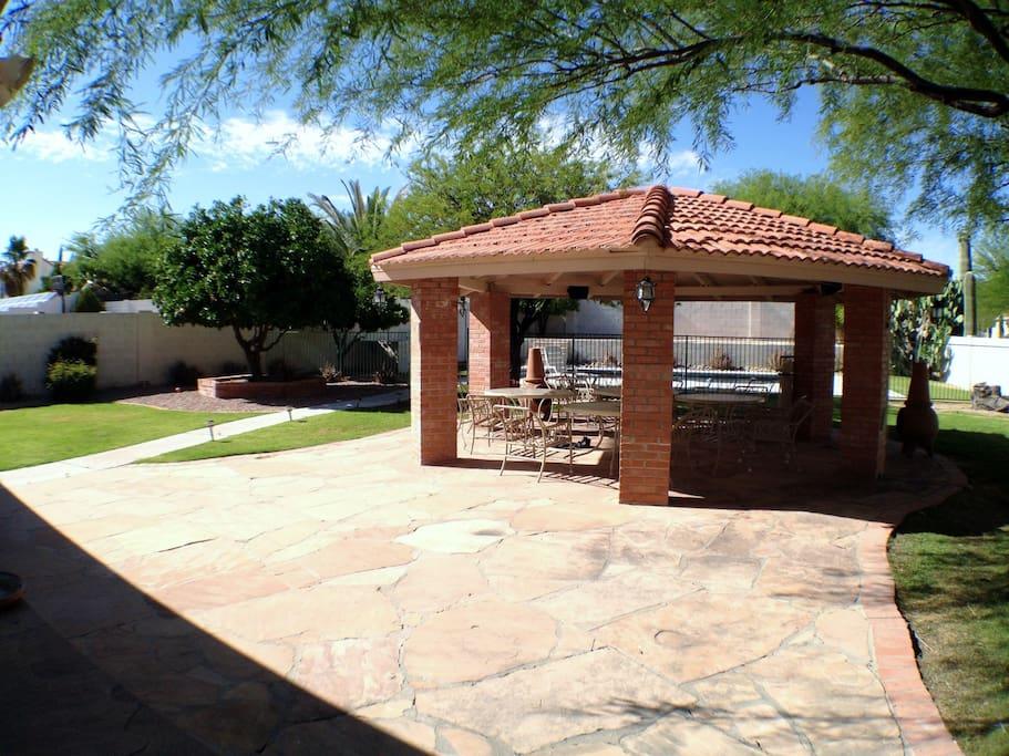 Large backyard.