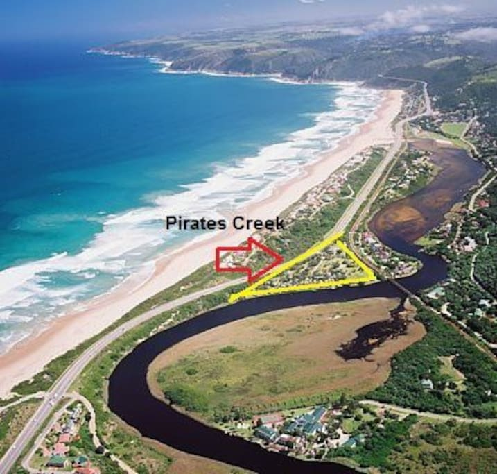 Aerial view showing the location of Pirates Creek Waterfront Village