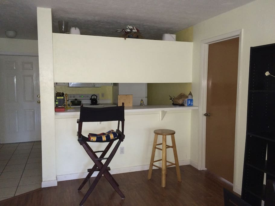 Full kitchen, oven fridge microwave dishwasher pots plates silverware toaster and more