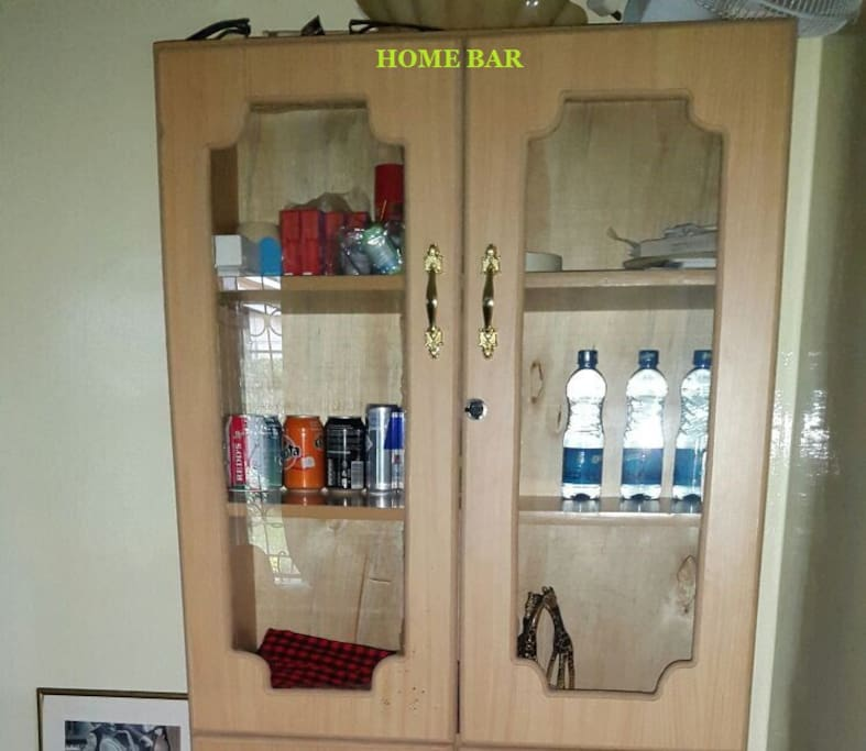 our home bar with drinks