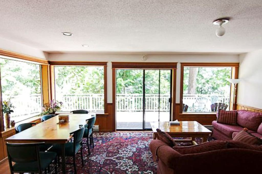 The living area features an open floor plan and cozy furnishings