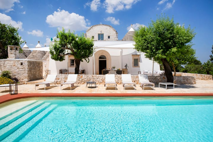 Luxury Villa with a pool surrounded by olive trees