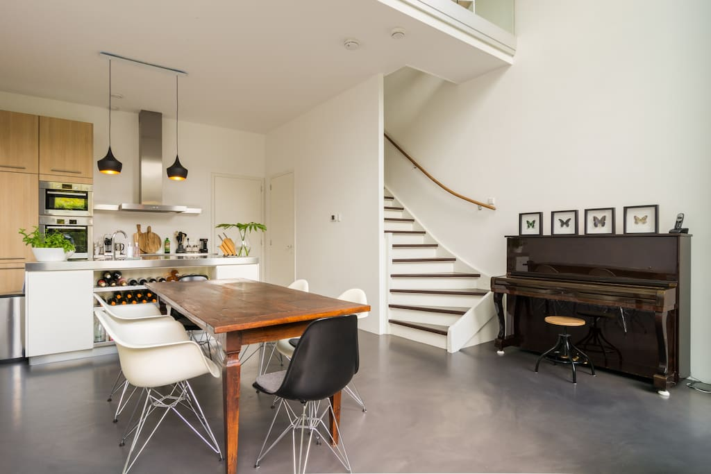 Kitchen and stairs to living