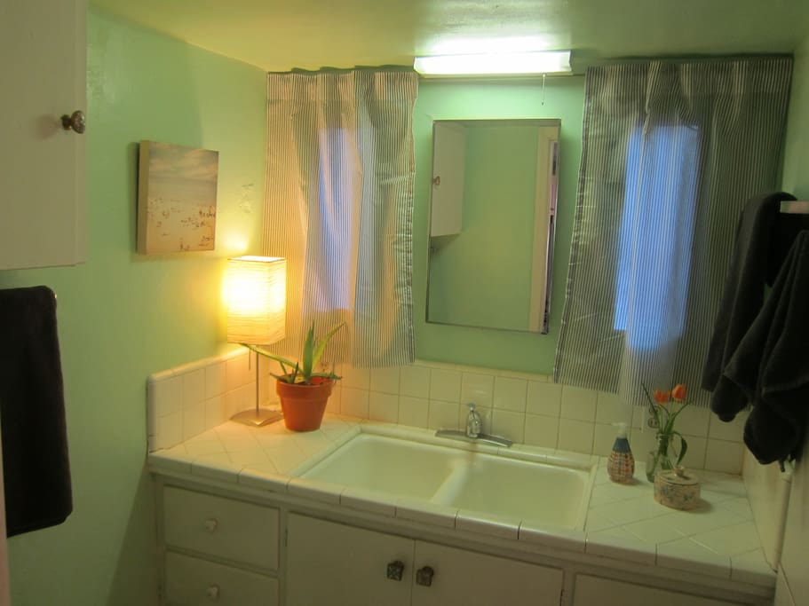Spacious bathroom will help you cool down in the summer, or warm up in the winter.