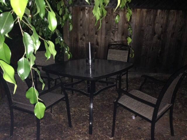 A night time view of your outdoor table and chairs/ pet relief area