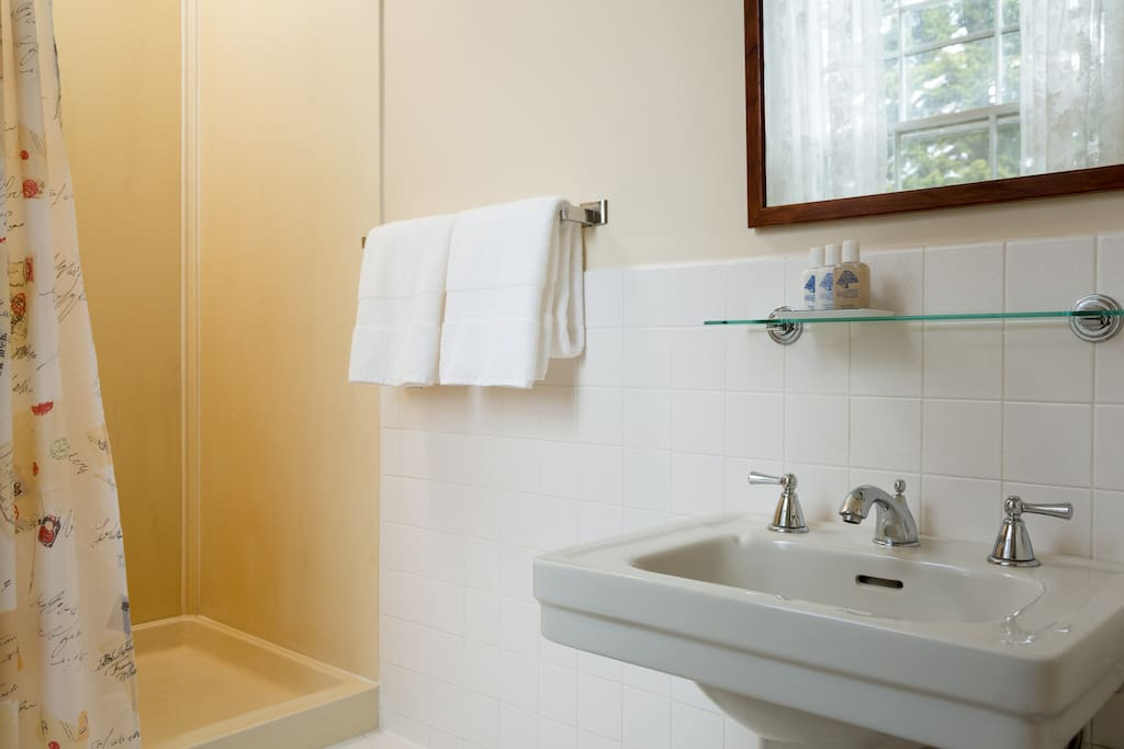 En-suite bathroom with shower and luxurious bath amenities.