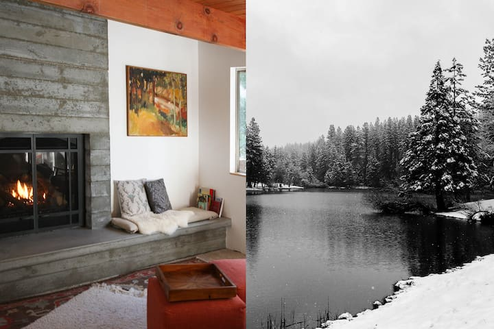 Stylish Lake View Cabin, Swim Summer + Ski Winter