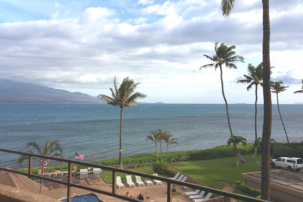 Extra large lanai serves as an outdoor living space!  Great views of the ocean, west Maui mountains and the islands of Kaho'olawe, Molokini Crater and Lanai