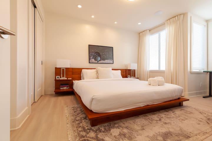 King CB2 bed in Bedroom 1