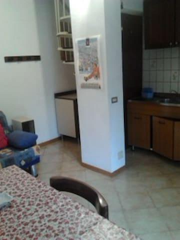 Zona acquaio e divano letto nel soggiorno
