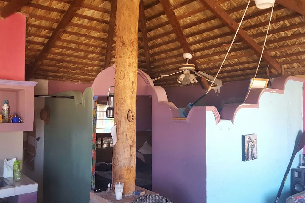 palapa pole and threshold to the bedroom