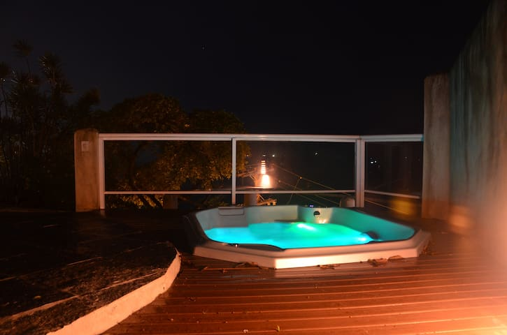 Hot tub by night